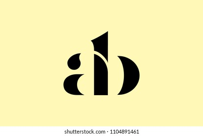 ab ba Lowercase Letter Initial Logo Design Template Vector Illustration