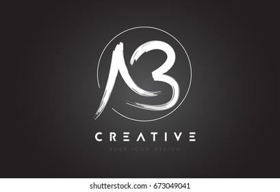 AB Brush Letter Logo Design. Artistic Handwritten Brush Letters Logo Concept Vector.