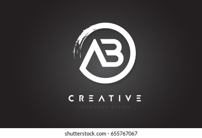 AB Circular Letter Logo with Circle Brush Design and Black Background.
