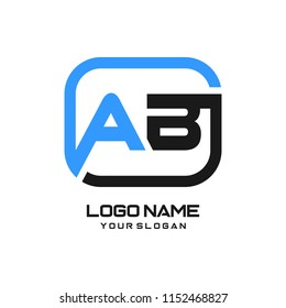 AB initial box letter logo template vector