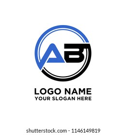 AB initial circle logo template vector
