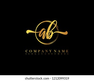 AB initial handwriting logo circle template vector