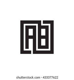 AB initial letters looping linked square monogram logo