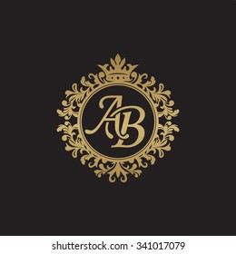 AB initial luxury ornament monogram logo