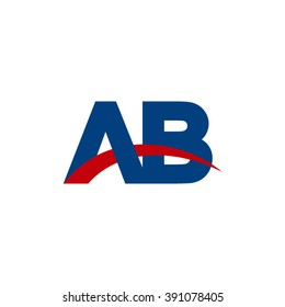 AB initial overlapping swoosh letter logo blue red