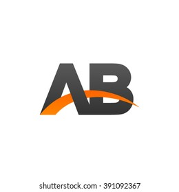 AB initial overlapping swoosh letter logo black orange