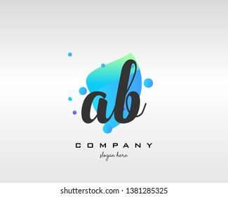 AB initials handwriting letters logo with colorful shape background - Vector