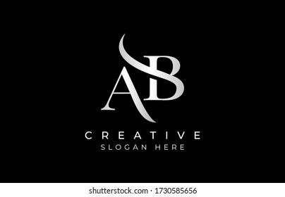 AB letter design logo logotype icon concept with serif font and classic elegant style look vector illustration. AB Letter Logo Design Template Vector Illustration.