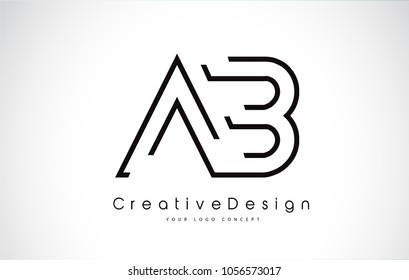 AB Letter Logo Design in Black Colors. Creative Modern Letters Vector Icon Logo Illustration.