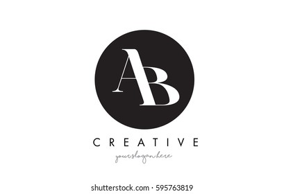 AB Letter Logo Design with Black Circle and Serif Font Vector Illustration.