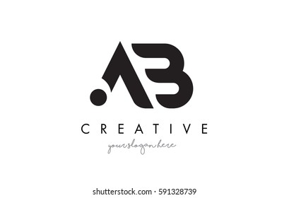 AB Letter Logo Design with Creative Modern Trendy Typography and Black Colors.