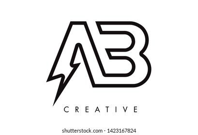 AB Letter Logo Design With Lighting Thunder Bolt. Electric Bolt Letter Logo Vector Illustration.