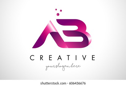 AB Letter Logo Design Template with Purple Colors and Dots