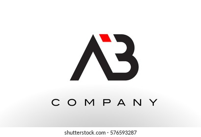 AB Logo.  Letter Design Vector with Red and Black Colors.