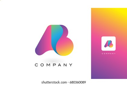 AB Logo Letter With Rainbow Vibrant Colors. Colorful Modern Trendy Purple and Magenta Letters Vector Illustration.