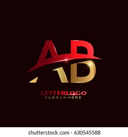 AB Logo Vector. Initial letter Logo Template in Modern Design with Red and Gold Color for Company and Business Logo