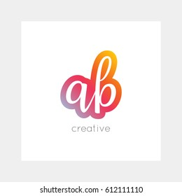 AB logo, vector. Useful as brand symbol, app icon, alphabet element,  clip-art.