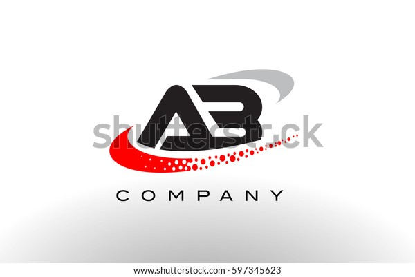 AB Modern Letter Logo Design with Creative Red Dotted Swoosh Vector