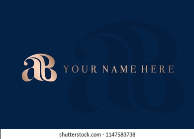 ab monogram.Initials logo containing letters a&B.Metallic rose gold elegant  icon isolated on royal blue dark background.