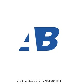 AB negative space letter logo blue