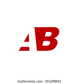 AB negative space letter logo red