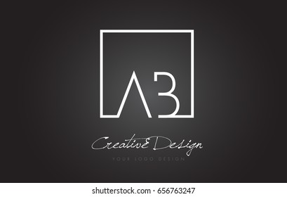 AB Square Framed Letter Logo Design Vector with Black and White Colors.