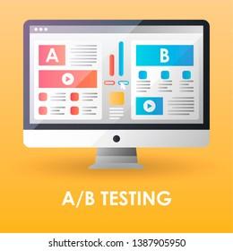 AB testing optimization website flat color icon. Web Platform Comparison. Split testing template. Symbol for web page, mobile app, banner, smm, ad. Pictogram UI/UX user interface. Vector illustration.