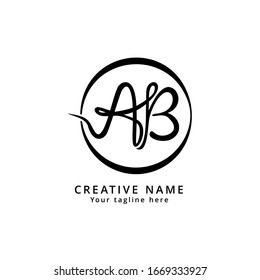 AB Uppercase Letter Monogram Handwritten Initial Logo. Signature font concept, memorable design, scalable vector EPS 10