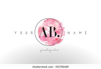 AB Watercolor Letter Logo Design with Circular Pink Brush Stroke.