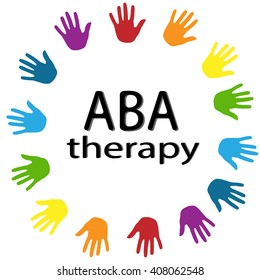 ABA therapy black lettering and colorful trees around on a white background . Treatment of autism . New rainbow Original Vector Illustration