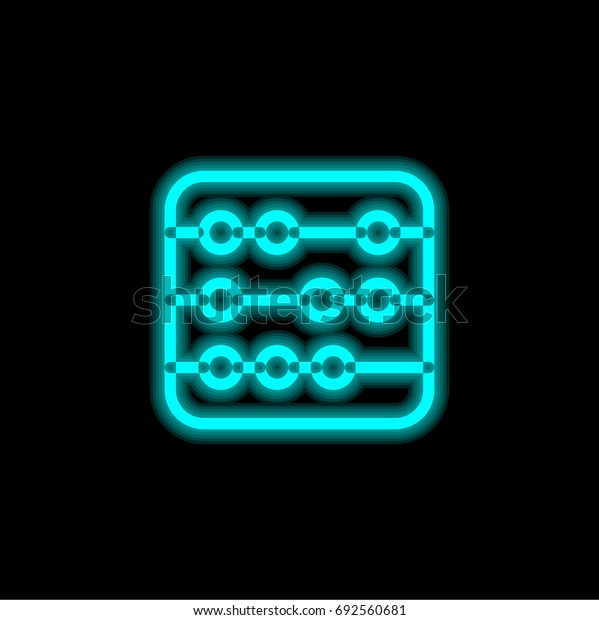 Abacus blue glowing neon ui ux icon. Glowing sign logo vector
