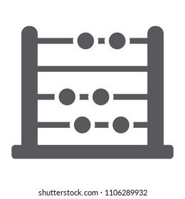 Abacus glyph icon, school and education, math sign vector graphics, a solid pattern on a white background, eps 10.