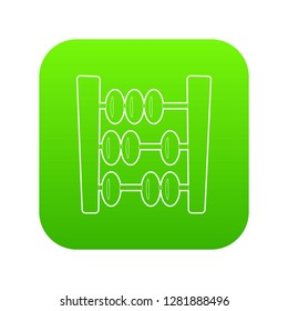 Abacus icon green vector isolated on white background