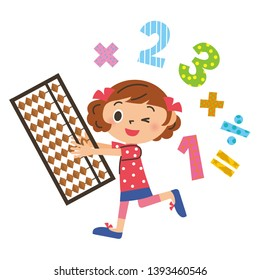 Abacus Learning Girl Calculation Math