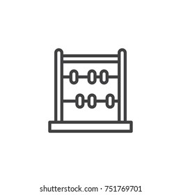 Abacus line icon, outline vector sign, linear style pictogram isolated on white. Calculator symbol, logo illustration. Editable stroke