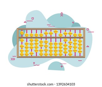 Abacus for mental arithmetic. Abacus. Children's education. Early expansion. Flat vector illustration