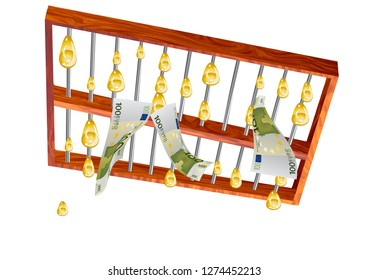 abacus and money, golden rain from abacus. abstract conceptual background