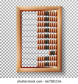 Abacus Set Vector. Realistic Illustration Of Classic Wooden Old Abacus. Arithmetic Tool Equipment. Isolated On Transparent Background. Accounting Abacus For Financial Calculations