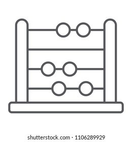 Abacus thin line icon, school and education, math sign vector graphics, a linear pattern on a white background, eps 10.