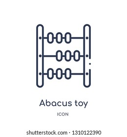 abacus toy icon from toys outline collection. Thin line abacus toy icon isolated on white background.