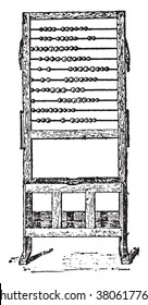 Abacus, vintage engraved illustration. Dictionary of words and things - Larive and Fleury - 1895.