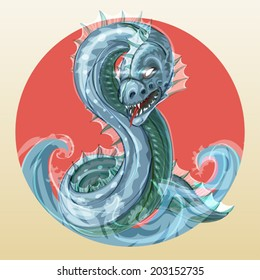Abaia - fantastic fierce sea serpent or ocean dragon, symbol of water in japanese style