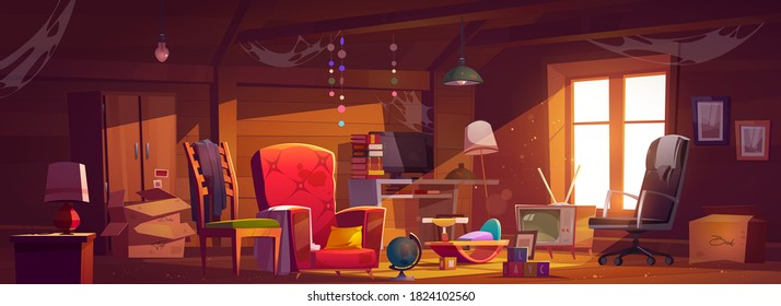 Abandoned attic room with old things, spider webs and dust. Neglected garret with window and furniture, carton boxes, computer, tv, table with books and lamps, kids toys. Cartoon vector illustration
