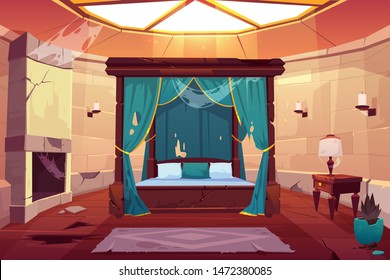 Abandoned bedroom in castle with canopy double bed. Scary empty palace apartment interior with window on roof, fireplace with spiderweb, cracked stone floor and dry plant. Cartoon vector illustration