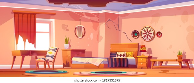 Abandoned bohemian bedroom interior, empty neglected boho room with broken furniture, cracked walls and broken ceiling with spider web, deserted home apartment or hotel Cartoon vector illustration
