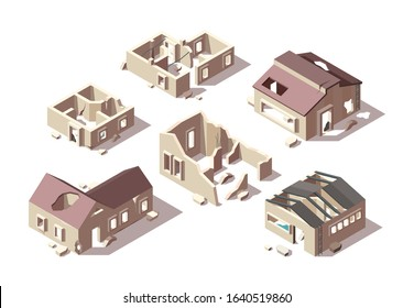 Abandoned buildings. Isometric broken houses city ruined objects vector architectural objects set