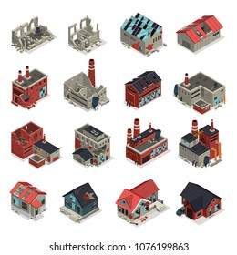 Abandoned buildings isometric set of crumbling old manufacturing workshops and factory ruins isolated vector illustration