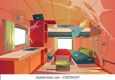 Abandoned camping trailer car interior with loft bed, ragged couch, kitchen sink, desk with laptop, bookshelf and window covered with spider web. Neglected Rv motor home. Cartoon vector illustration
