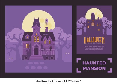 Abandoned haunted mansion flat illustration. Creepy Halloween house silhouette greeting card.