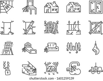 Abandoned house line icon set. Included icons as shabby, old, broken, damaged, scary, dilapidated and more.